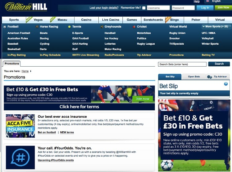 William Hill review - sports odds and betting offers