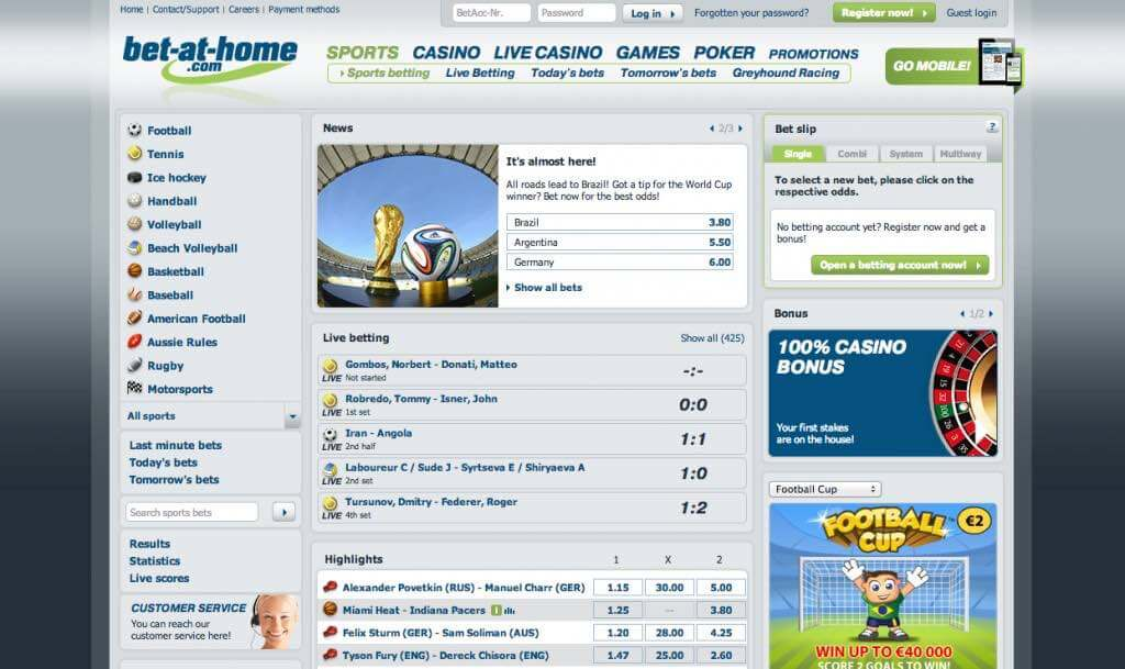 Bet-at-home odds and online betting