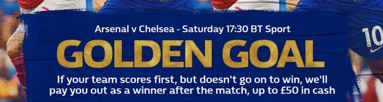 Play with Golden Goal on Arsenal v Chelsea at William Hill!