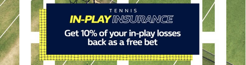 Get a weekly 10% back in free bets on your losing In-play tennis bets!