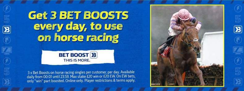 Three daily bet boosts on horse racing